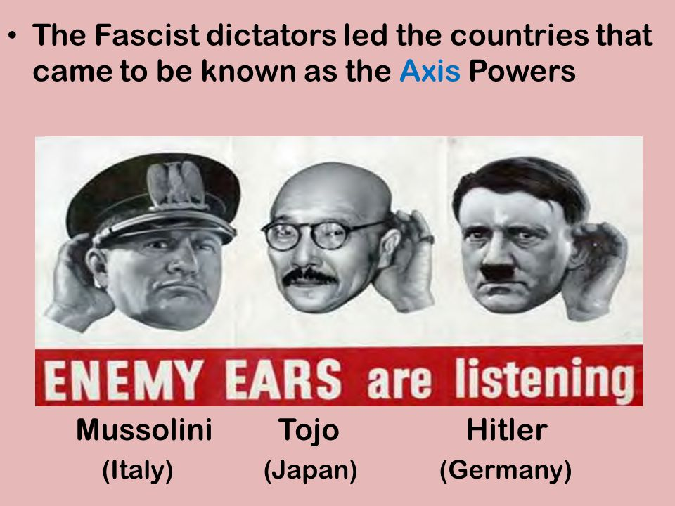 The Fascist dictators led the countries that came to be known as the Axis Powers