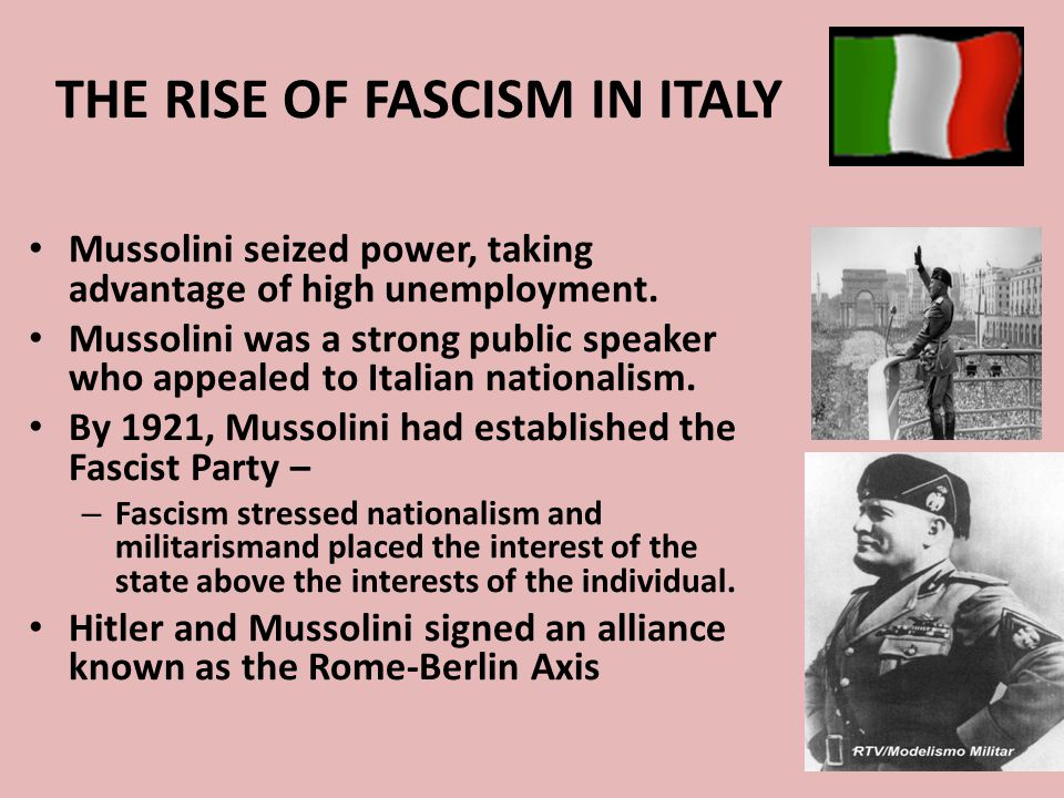 THE RISE OF FASCISM IN ITALY