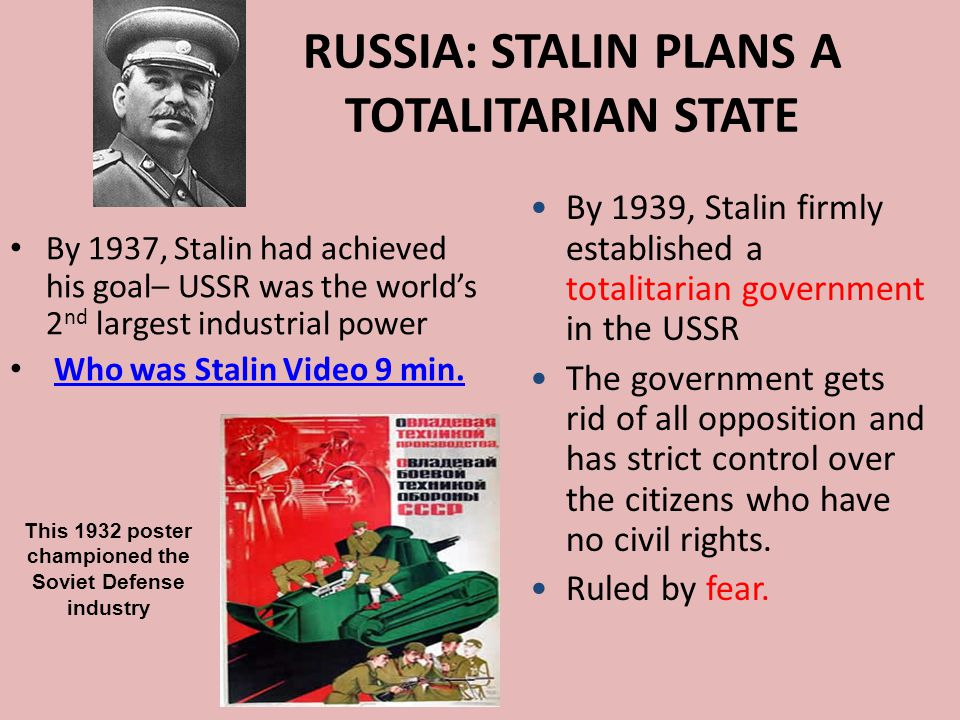 RUSSIA: STALIN PLANS A TOTALITARIAN STATE