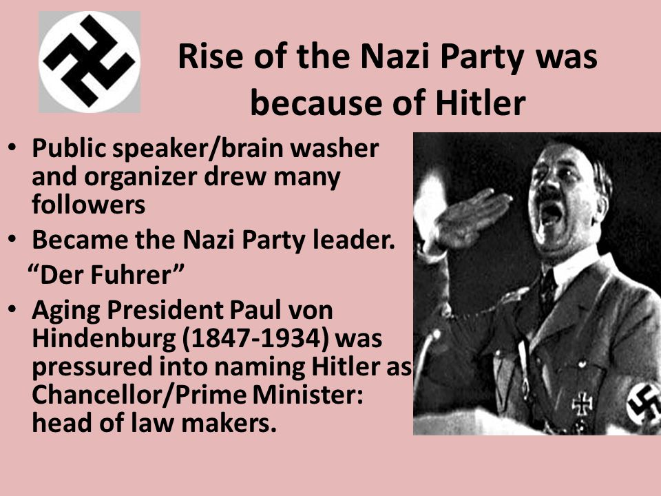 Rise of the Nazi Party was because of Hitler