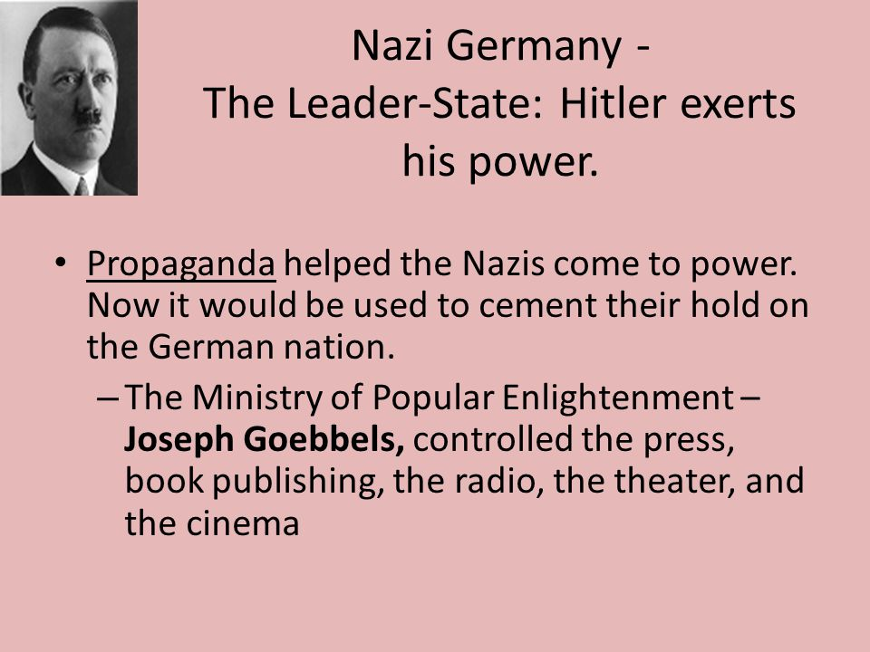 Nazi Germany - The Leader-State: Hitler exerts his power.