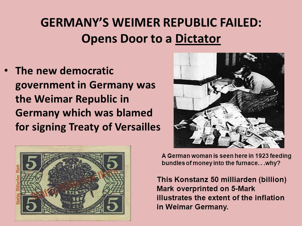 GERMANY'S WEIMER REPUBLIC FAILED: Opens Door to a Dictator