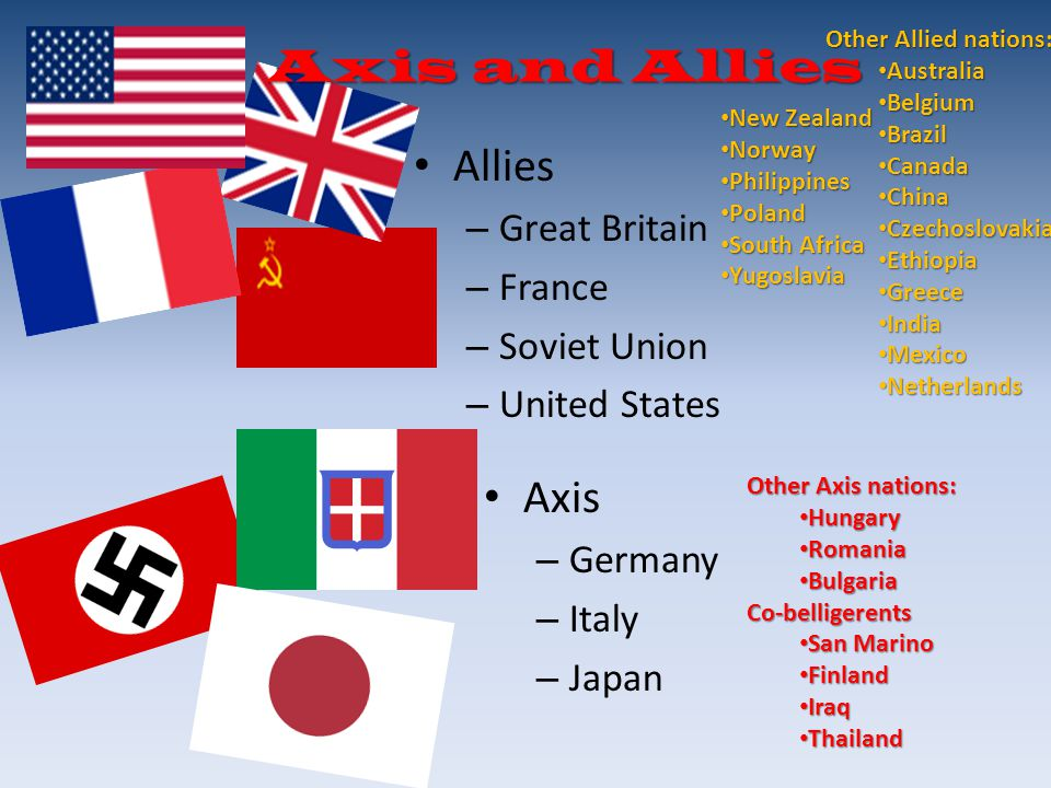 Axis and Allies Allies Axis Great Britain France Soviet Union
