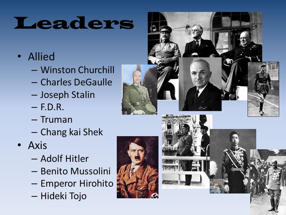 Leaders Allied Axis Winston Churchill Charles DeGaulle Joseph Stalin