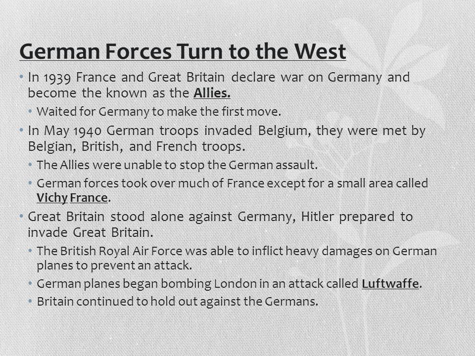 German Forces Turn to the West