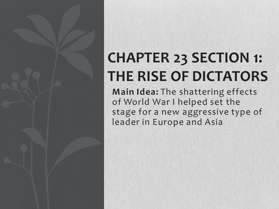 Chapter 23 Section 1: The rise of Dictators