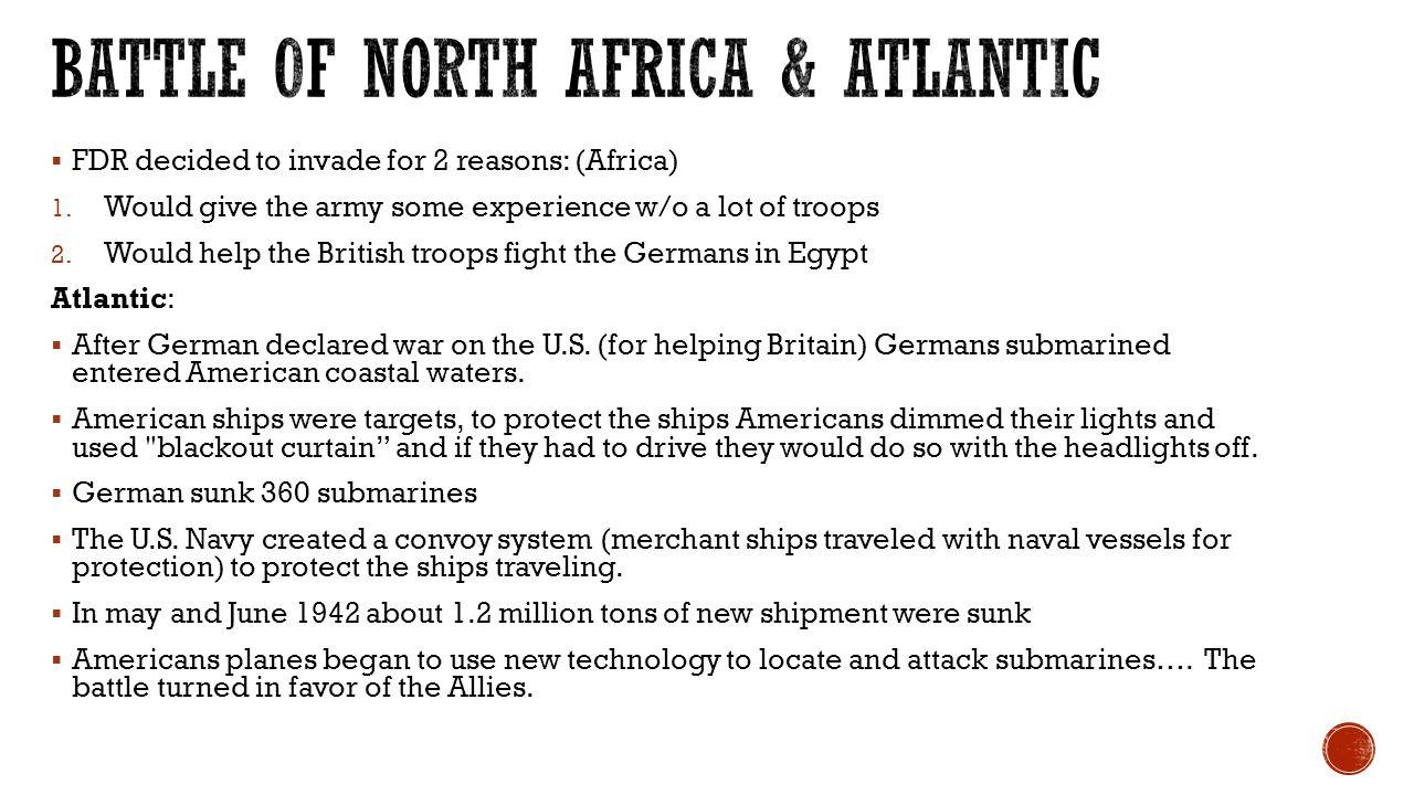 Battle of north Africa & Atlantic