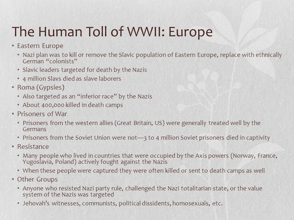 The Human Toll of WWII: Europe
