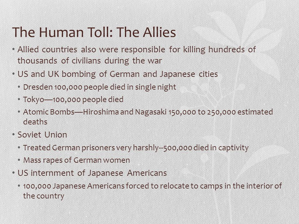 The Human Toll: The Allies