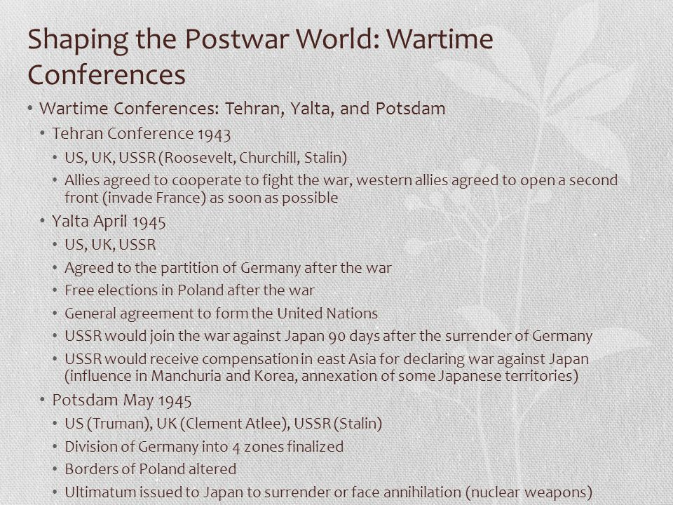 Shaping the Postwar World: Wartime Conferences