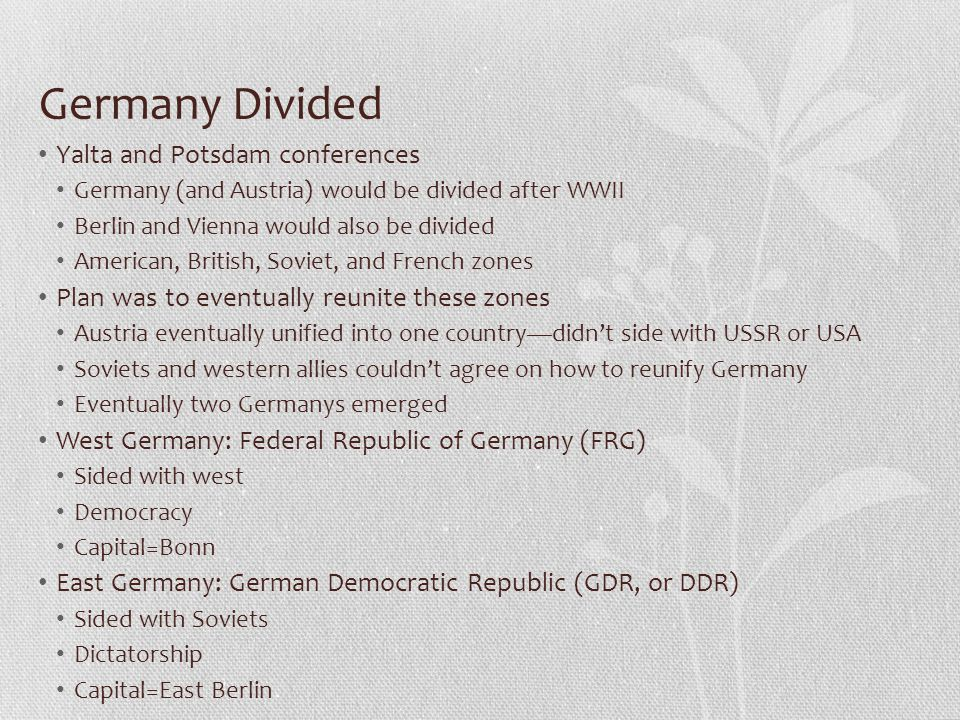 Germany Divided Yalta and Potsdam conferences