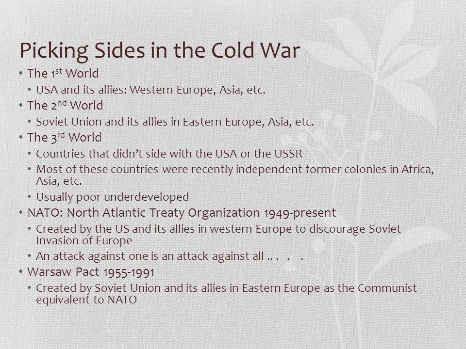 Picking Sides in the Cold War