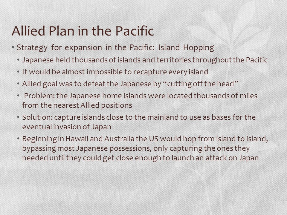 Allied Plan in the Pacific