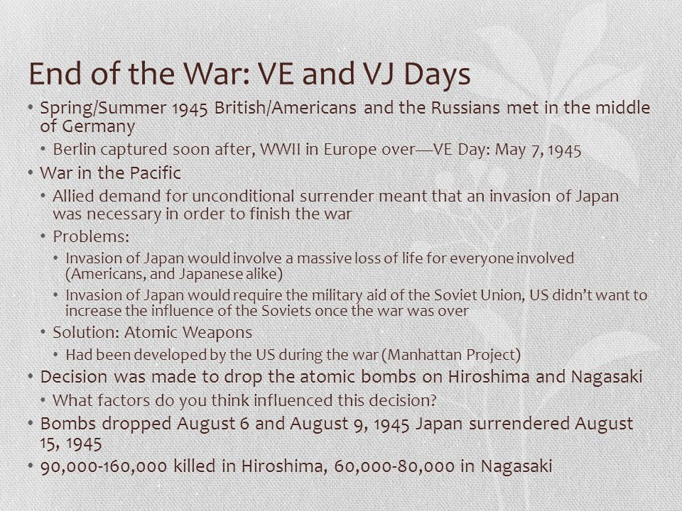 End of the War: VE and VJ Days