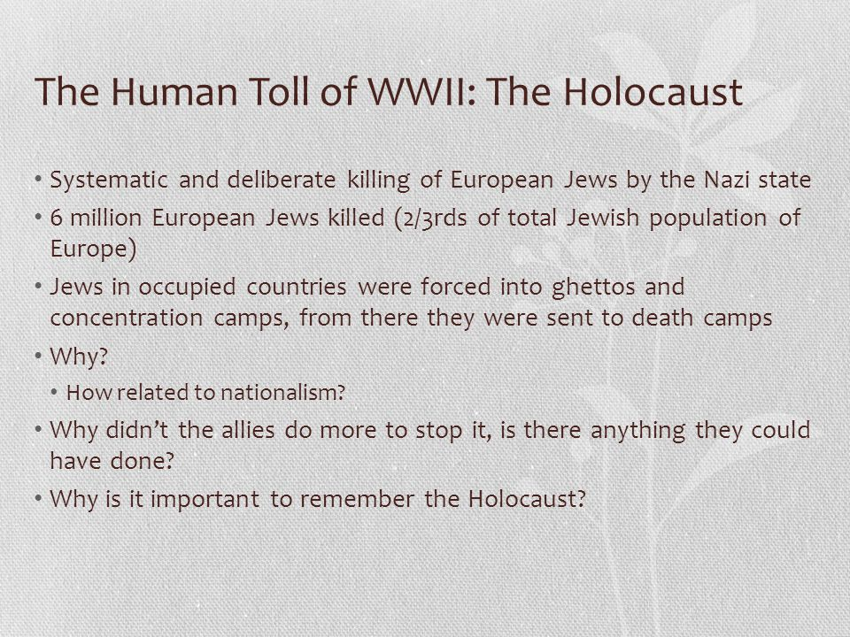 The Human Toll of WWII: The Holocaust