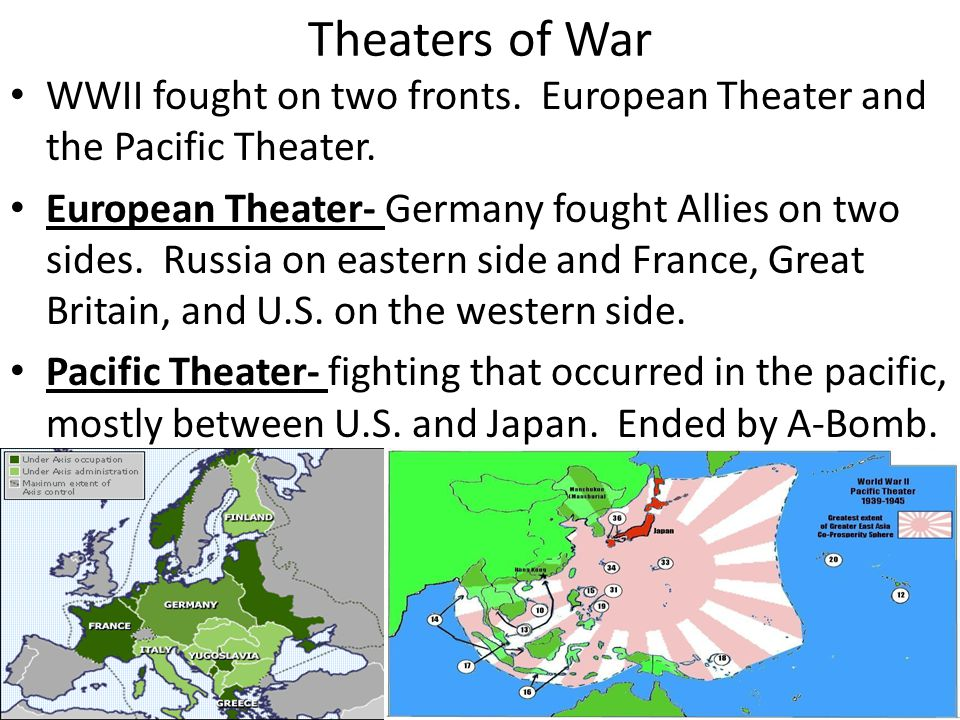 Theaters of War WWII fought on two fronts. European Theater and the Pacific Theater.