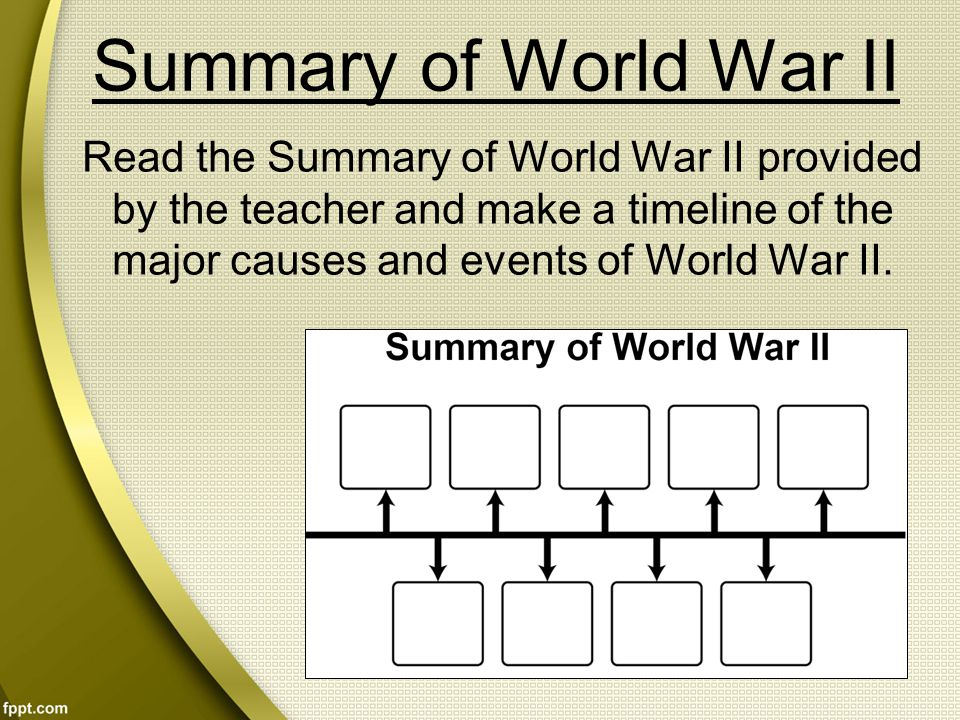 Summary of World War II Read the Summary of World War II provided by the teacher and make a timeline of the major causes and events of World War II.