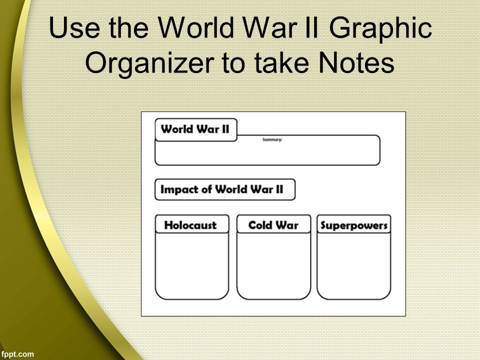 Use the World War II Graphic Organizer to take Notes