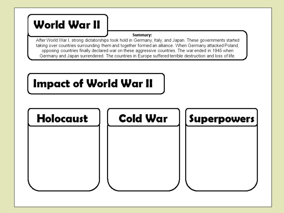 After World War I, strong dictatorships took hold in Germany, Italy, and Japan. These governments started taking over countries surrounding them and together formed an alliance. When Germany attacked Poland, opposing countries finally declared war on these aggressive countries. The war ended in 1945 when Germany and Japan surrendered. The countries in Europe suffered terrible destruction and loss of life.