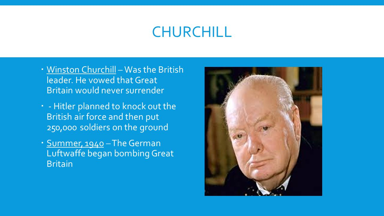 Churchill Winston Churchill – Was the British leader. He vowed that Great Britain would never surrender.