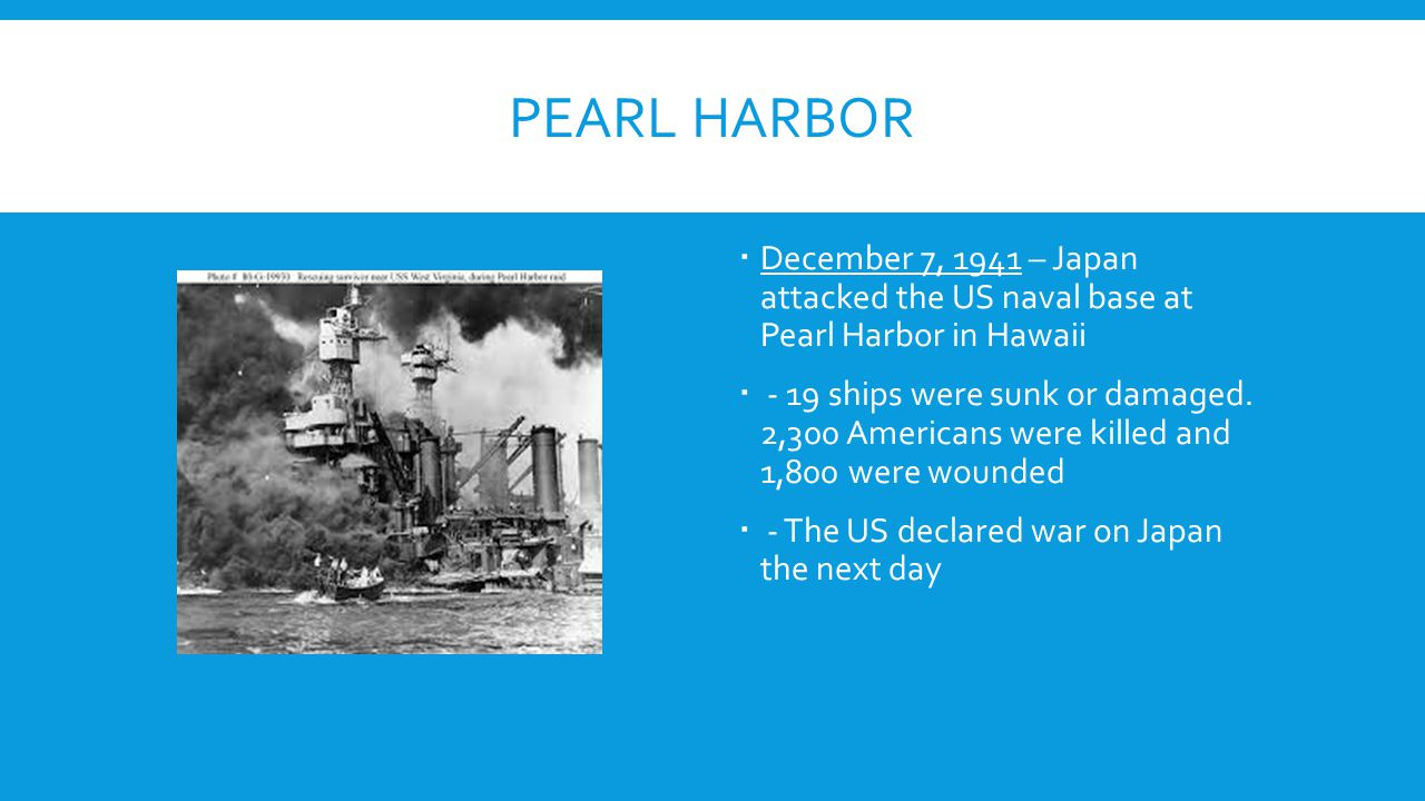 Pearl Harbor December 7, 1941 – Japan attacked the US naval base at Pearl Harbor in Hawaii.
