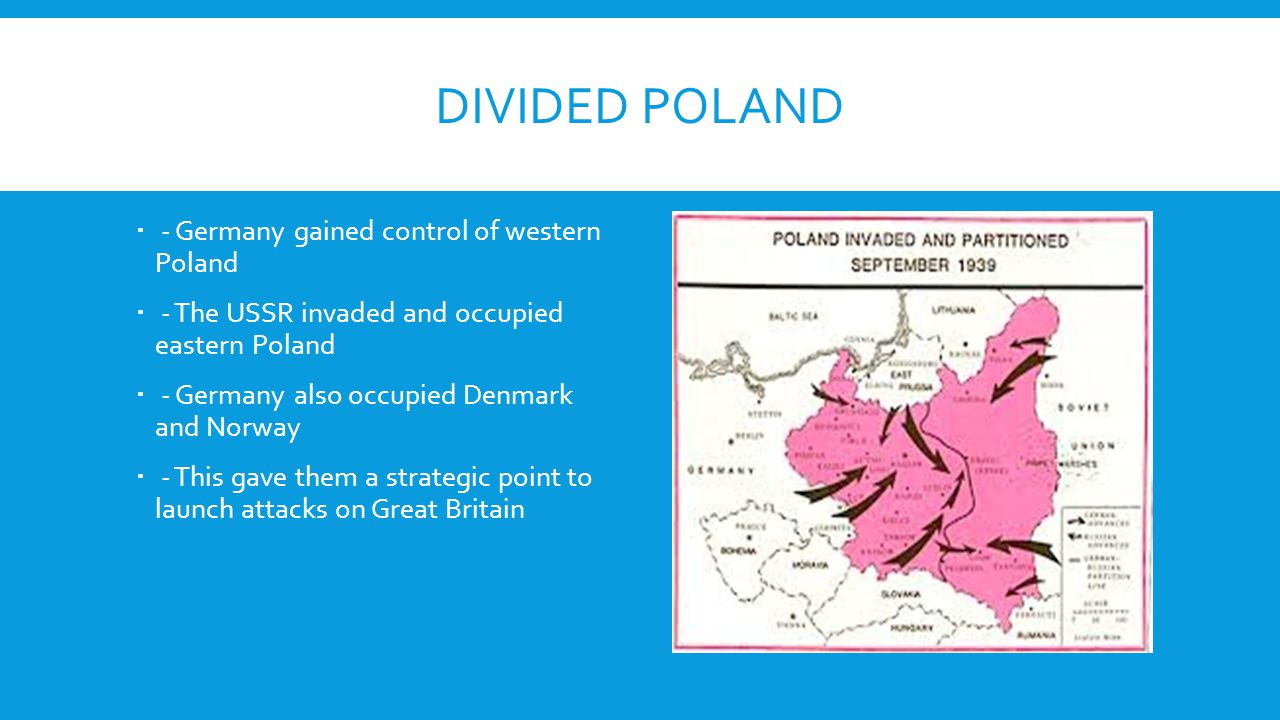 Divided Poland - Germany gained control of western Poland