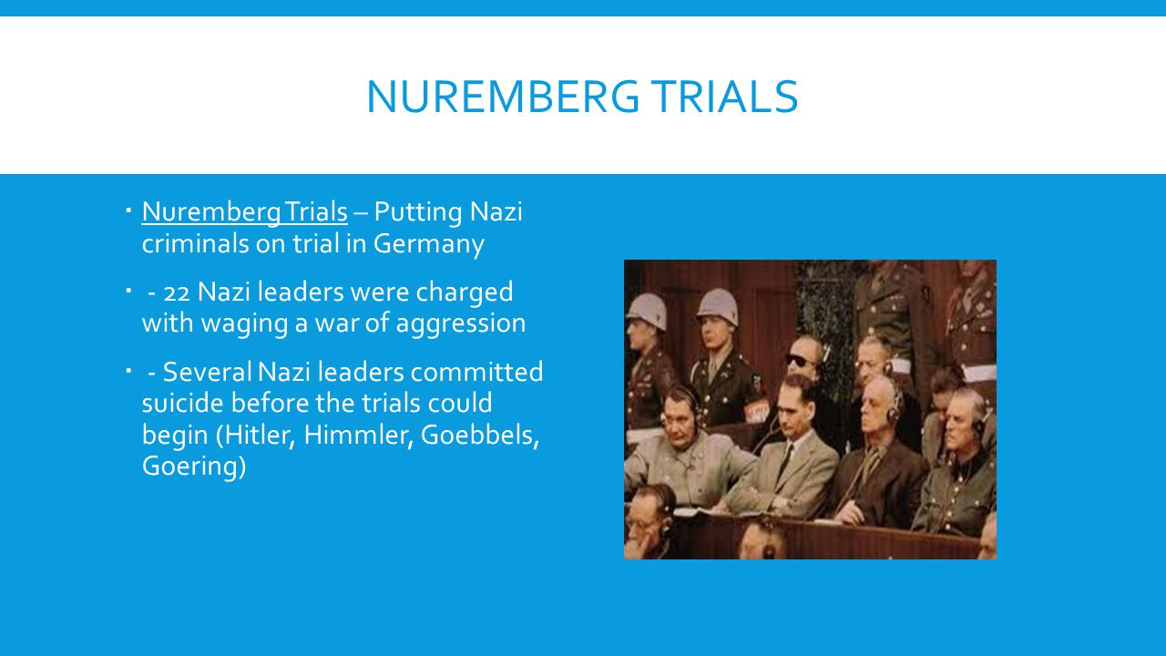 Nuremberg Trials Nuremberg Trials – Putting Nazi criminals on trial in Germany. - 22 Nazi leaders were charged with waging a war of aggression.