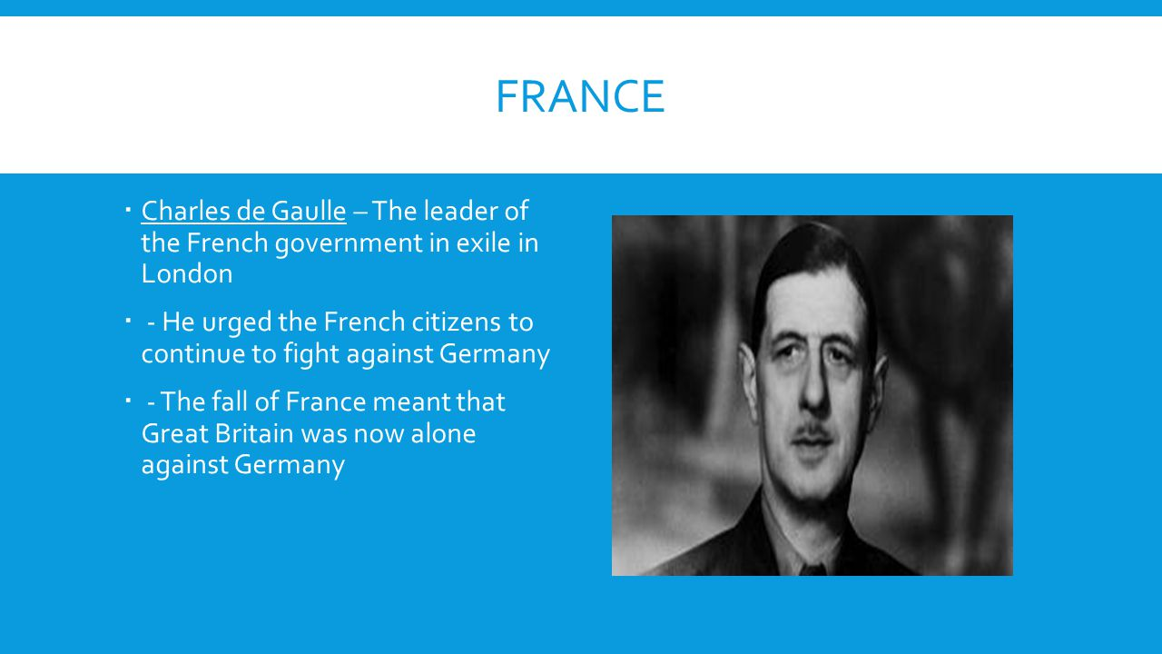 France Charles de Gaulle – The leader of the French government in exile in London.