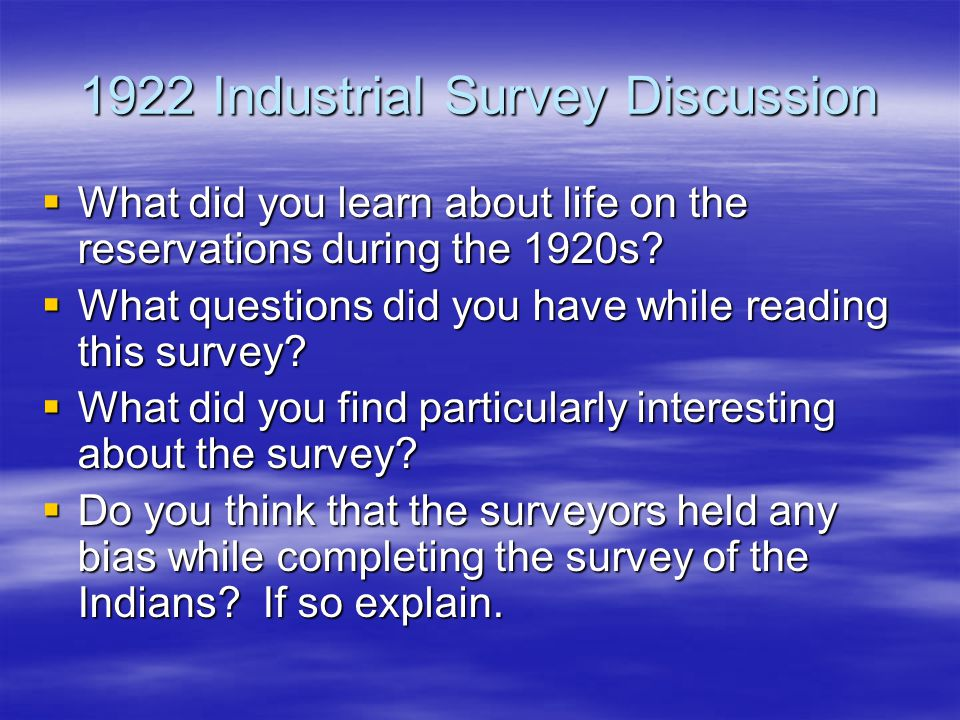 1922 Industrial Survey Discussion