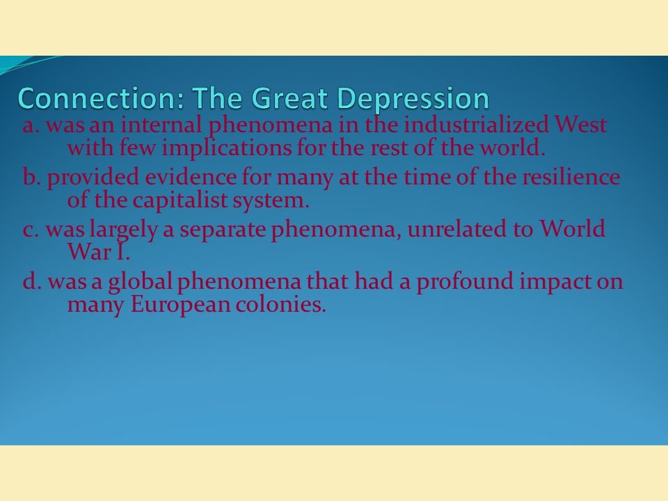 Connection: The Great Depression