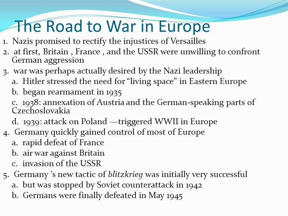 The Road to War in Europe