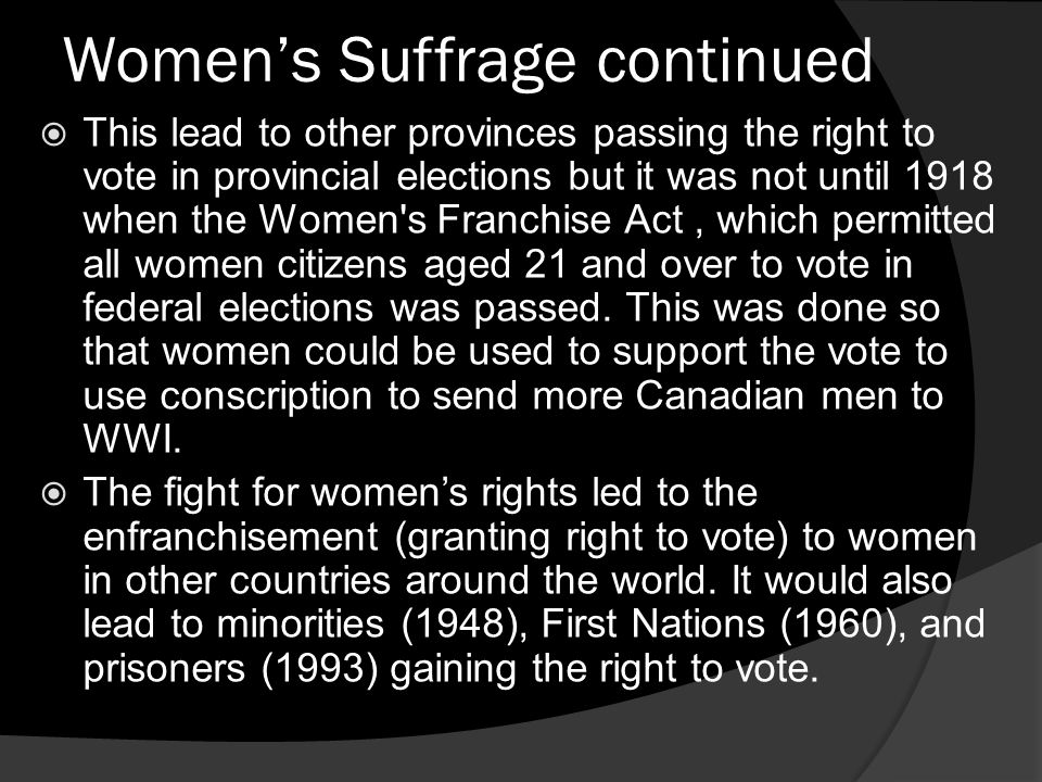 Women's Suffrage continued