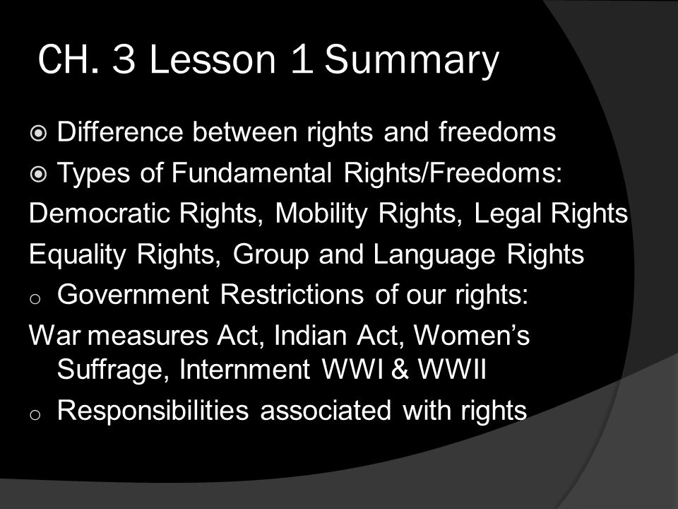 CH. 3 Lesson 1 Summary Difference between rights and freedoms