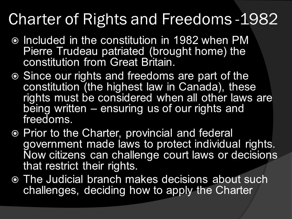 Charter of Rights and Freedoms -1982