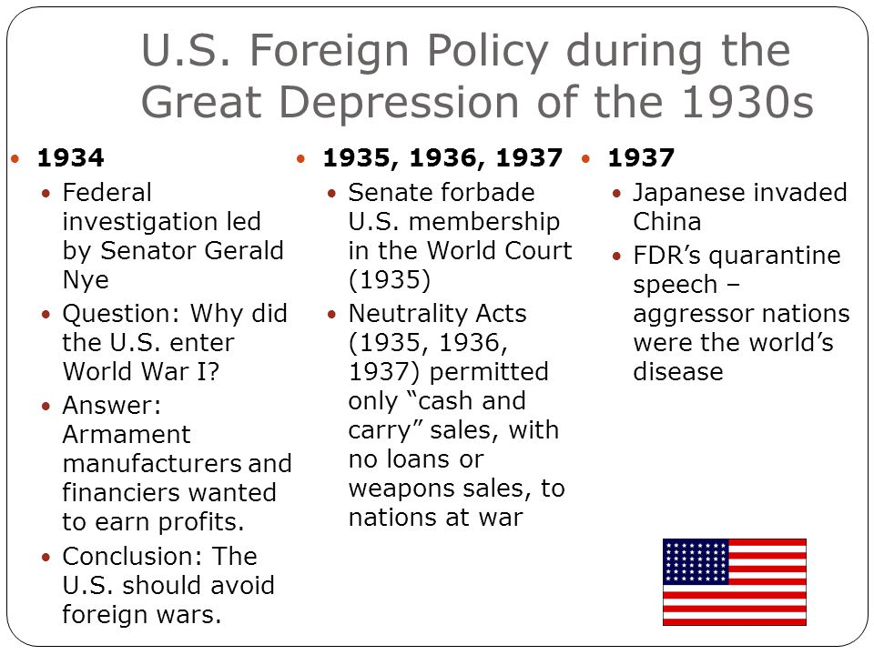 U.S. Foreign Policy during the Great Depression of the 1930s