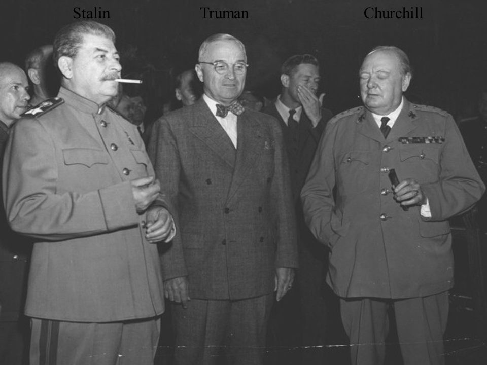 who is to blame for the cold war truman stalin churchill 11th grade cold war inquiry who's to blame for the cold war soviet prime minister josef stalin, president harry s truman, and british prime minister winston churchill pose for the first time before the opening of the potsdam conference, july 7, 1945 national archives and records administration office of presidential libraries.