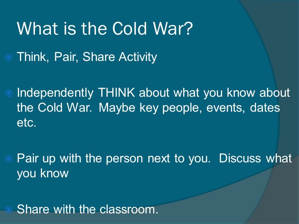 What is the Cold War Think, Pair, Share Activity