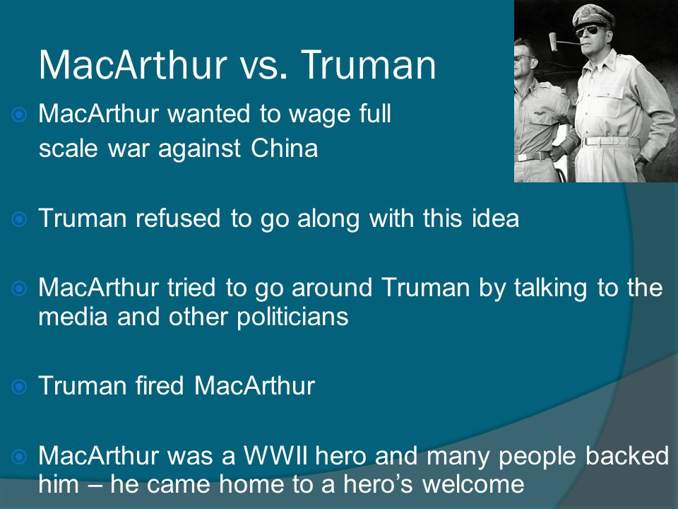 "truman vs macarthur essay Truman felt compelled to praise macarthur's ""distinguished and exceptional service"" even as he insisted that ""military commanders must be governed by the policies and directives issued to them"" by their superiors—especially the president."