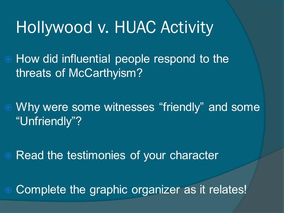 Hollywood v. HUAC Activity