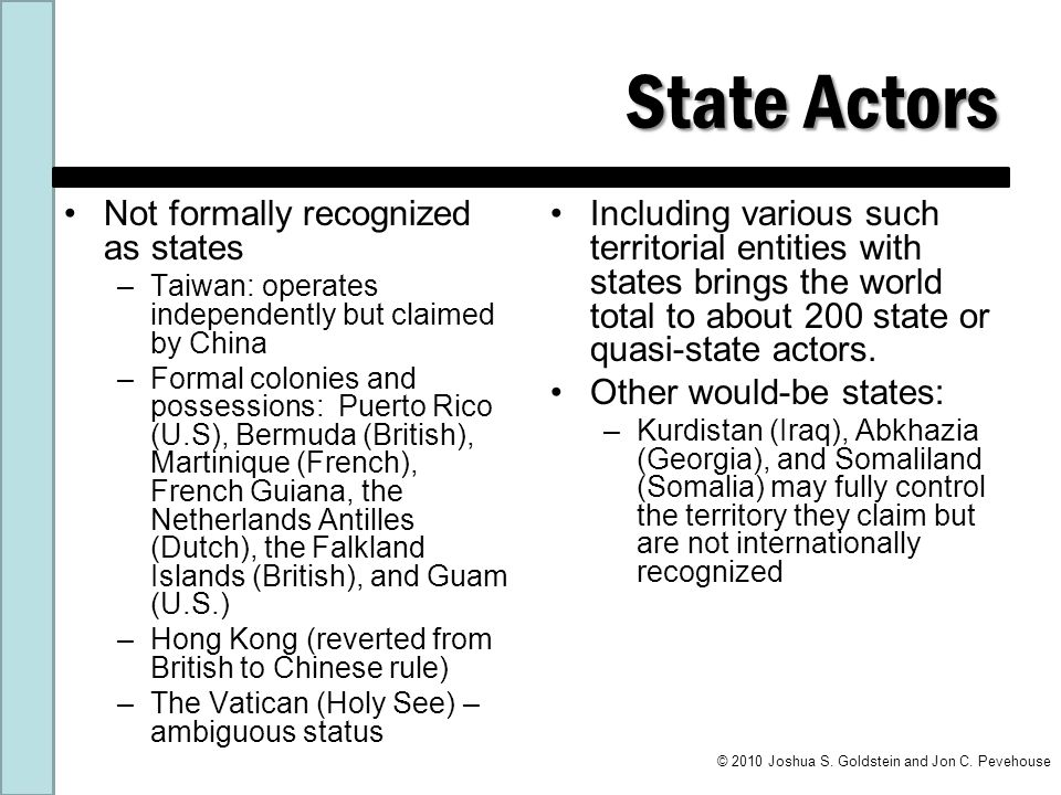 State Actors Not formally recognized as states