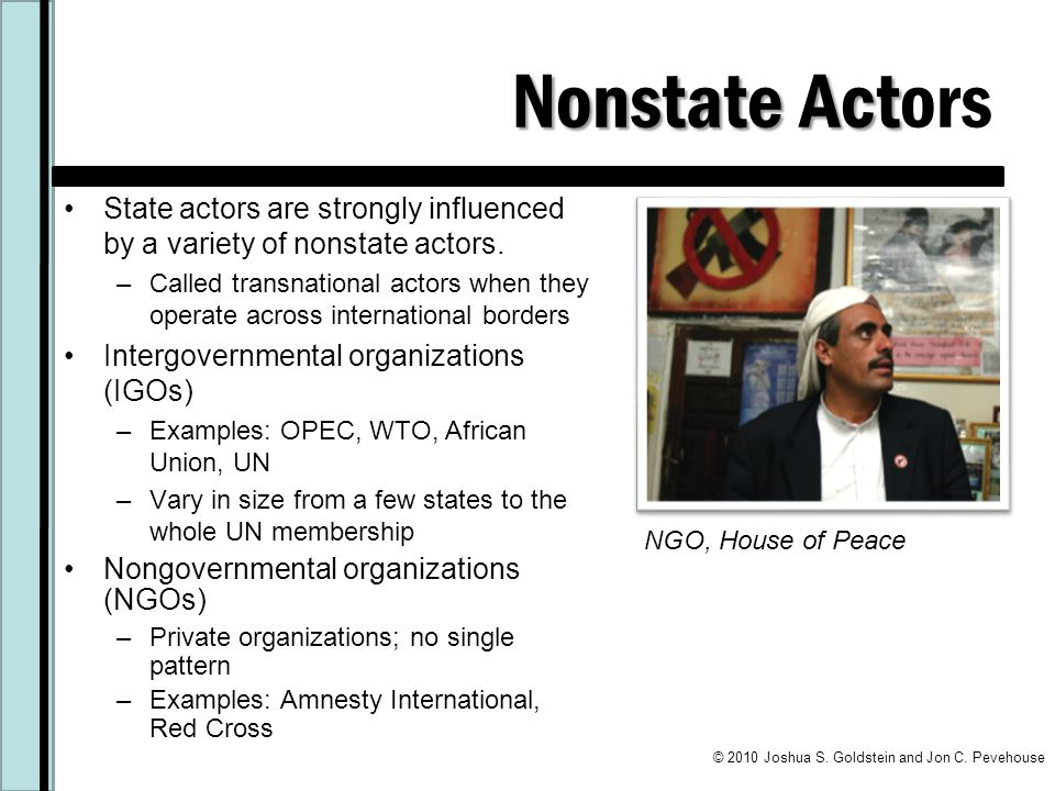 Nonstate Actors State actors are strongly influenced by a variety of nonstate actors.