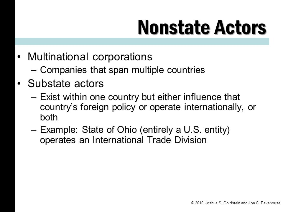 Nonstate Actors Multinational corporations Substate actors