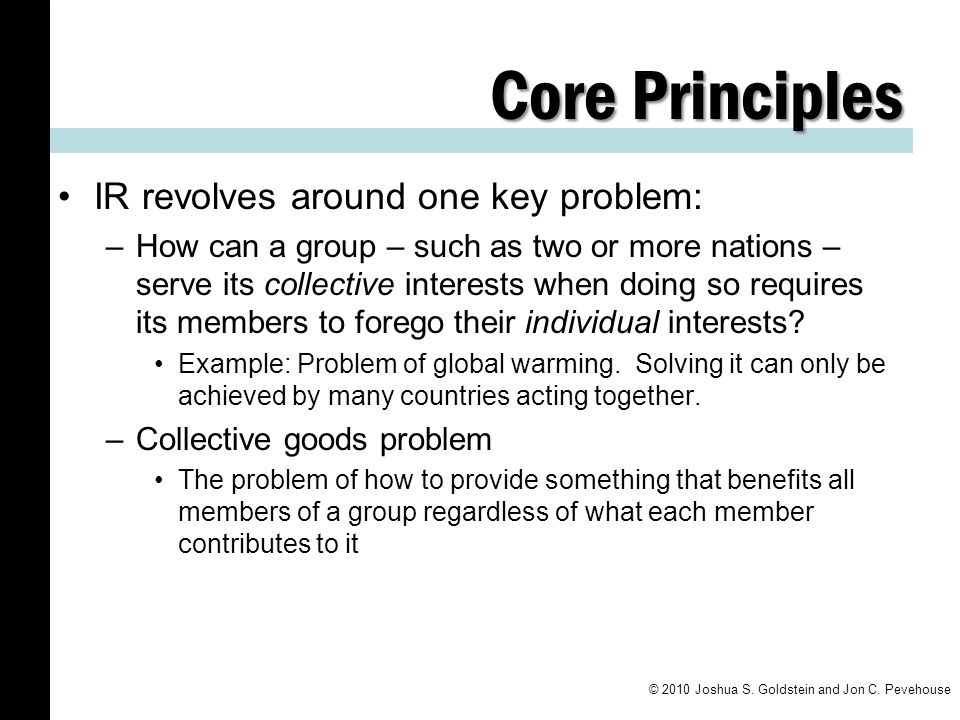 Core Principles IR revolves around one key problem: