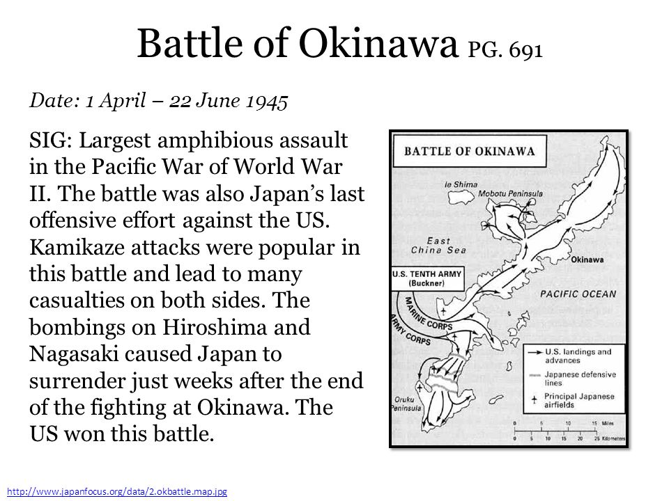 Battle of Okinawa PG. 691 Date: 1 April – 22 June 1945.