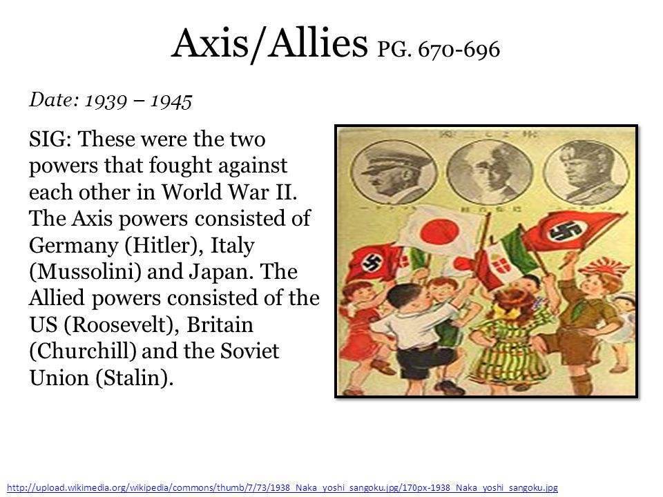Axis/Allies PG. 670-696 Date: 1939 – 1945.