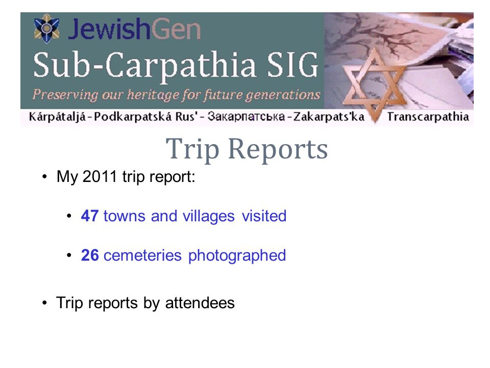 Trip Reports My 2011 trip report: 47 towns and villages visited