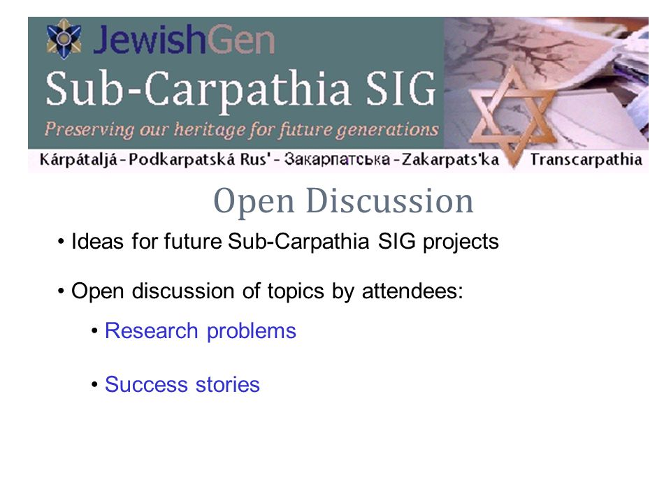 Open Discussion Ideas for future Sub-Carpathia SIG projects
