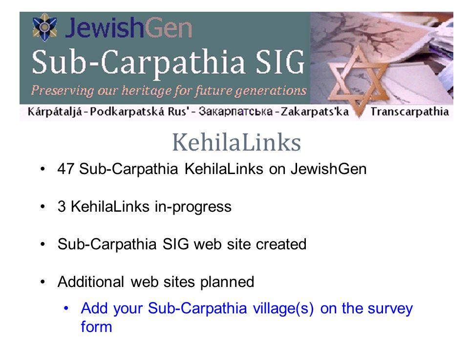 KehilaLinks 47 Sub-Carpathia KehilaLinks on JewishGen