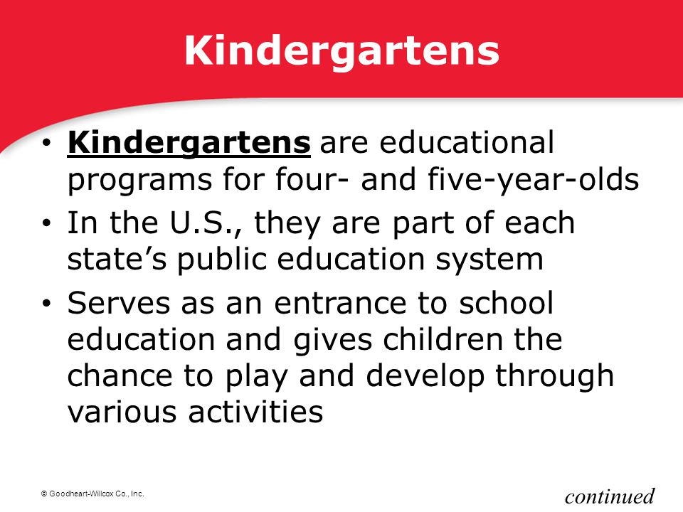 Kindergartens Kindergartens are educational programs for four- and five-year-olds.