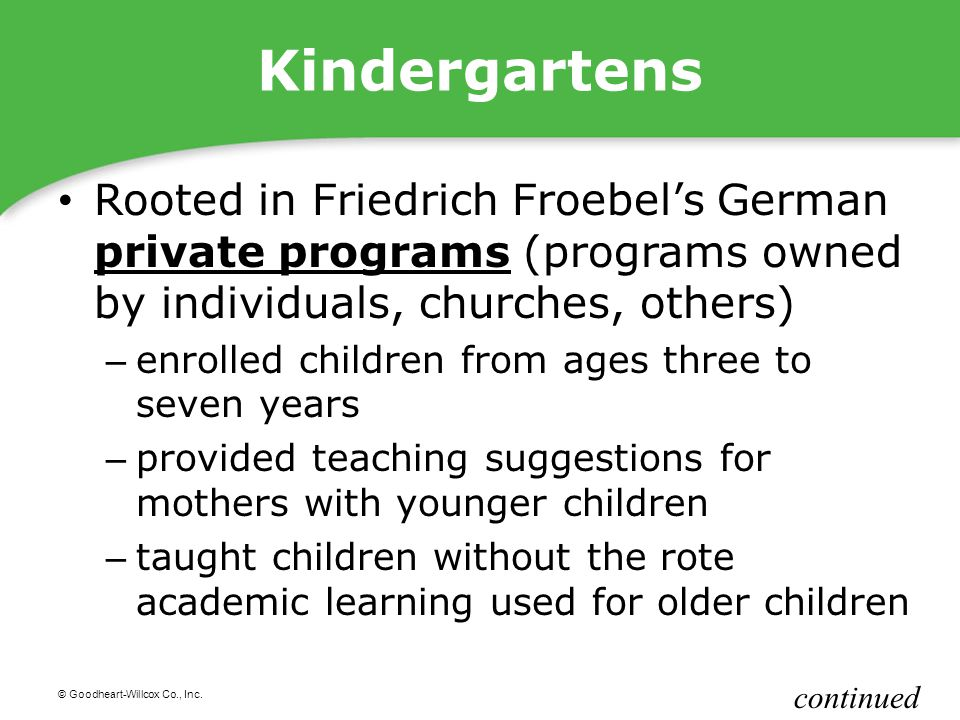 Kindergartens Rooted in Friedrich Froebel's German private programs (programs owned by individuals, churches, others)